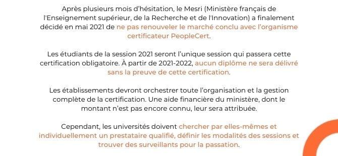 La certification obligatoire et le languagecert